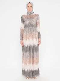 Gray - Cream - Fully Lined - Crew neck - Muslim Evening Dress