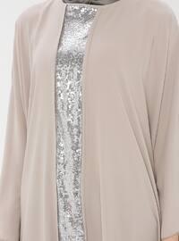 Beige - Silver tone - Crew neck - Unlined - Dress