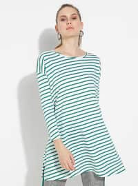 White - Green - Stripe - Crew neck - Cotton - Tunic
