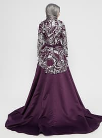 Purple - Silver tone - Fully Lined - Crew neck - Muslim Evening Dress