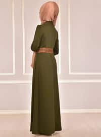 Khaki - Fully Lined - Round Collar - Abaya
