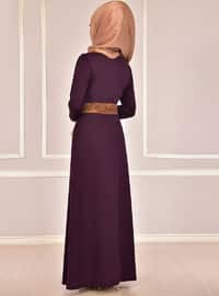 Plum - Fully Lined - Round Collar - Abaya
