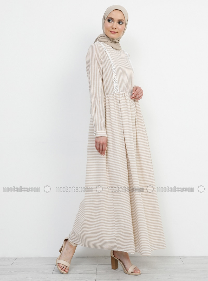 Beige - Stripe - Crew neck - Fully Lined - Cotton - Dress