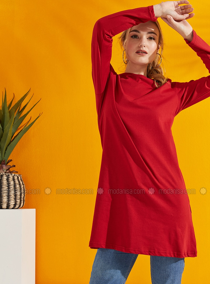 Red - Crew neck - Cotton - Tunic