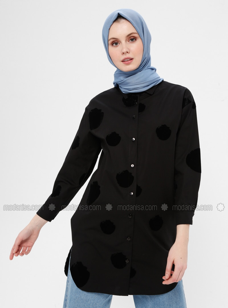 Black - Geometric - Button Collar - Point Collar - Cotton - Tunic