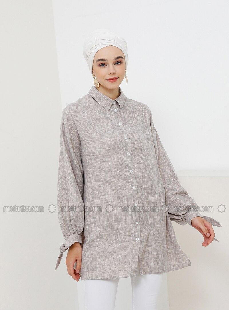 Beige - Point Collar - Cotton - Tunic