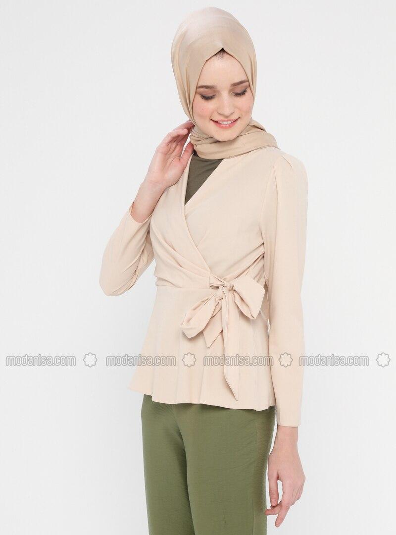 Beige - Shawl Collar - Cotton - Viscose - Blouses