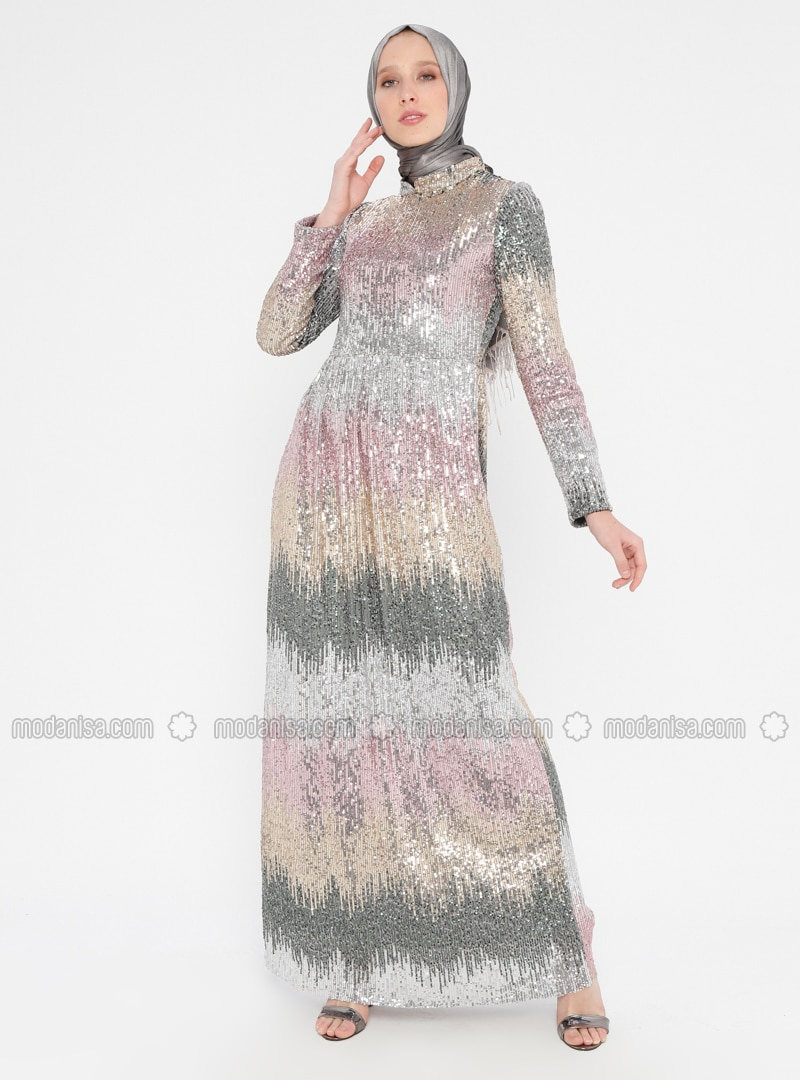 Gold - Silver tone - Fully Lined - Crew neck - Muslim Evening Dress
