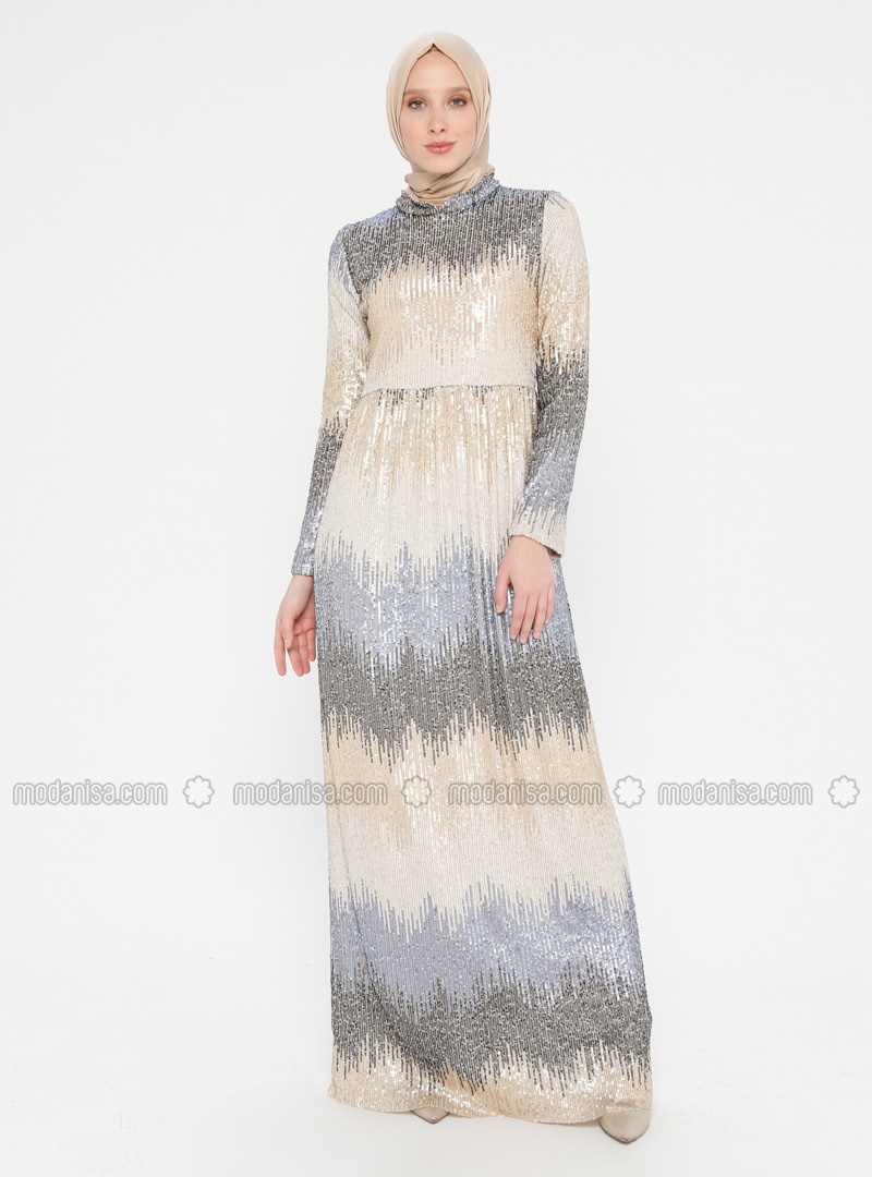 Blue - Gold - Fully Lined - Crew neck - Muslim Evening Dress