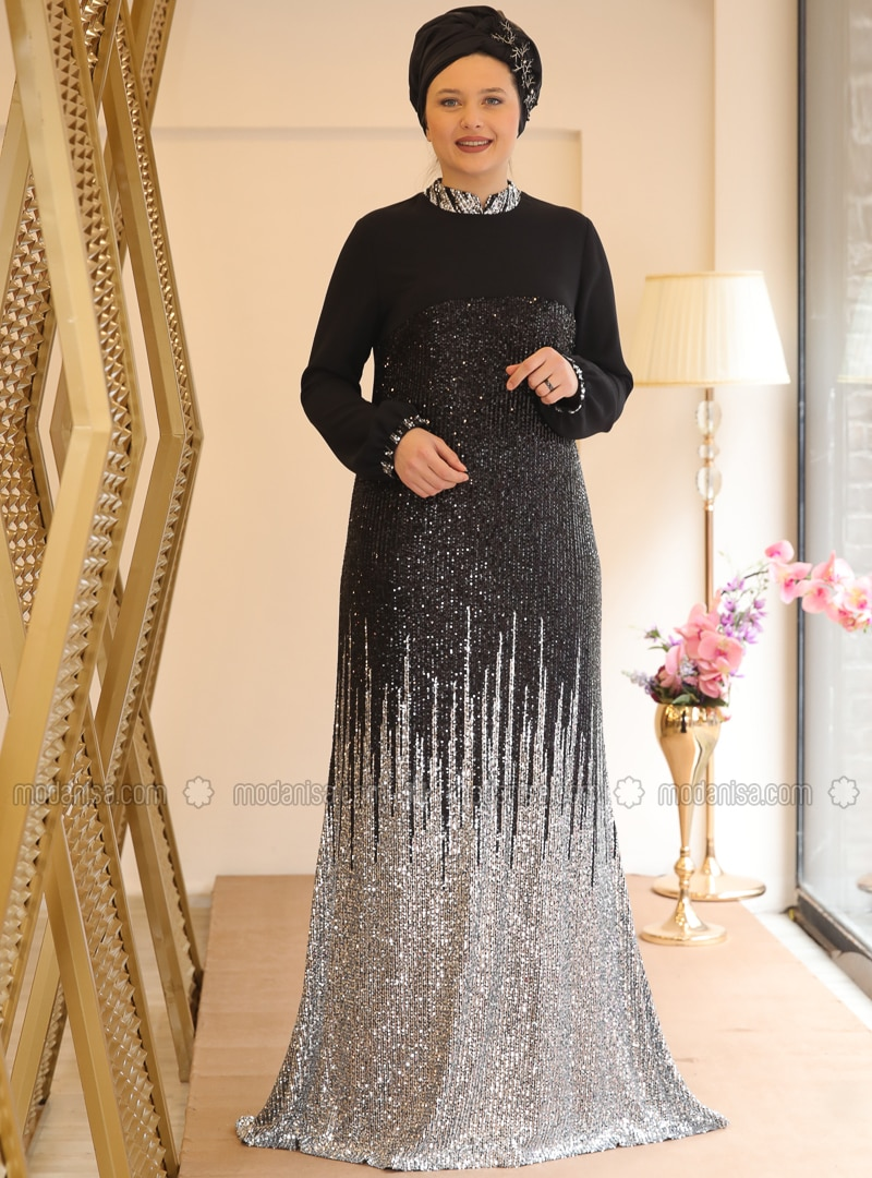 Black - Gray - Fully Lined - Crew neck - Muslim Plus Size Evening Dress