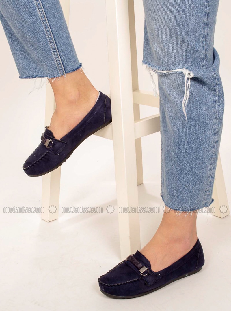 Navy Blue - Flat - Flat Shoes - AKER