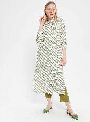 White - Beige - Stripe - Point Collar - Unlined - Dress