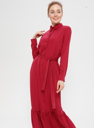 Fuchsia - Point Collar - Unlined - Dress