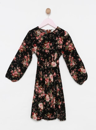 Floral - Crew neck - Viscose - Unlined - Black - Girls` Dress