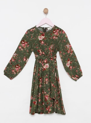 Floral - Crew neck - Viscose - Unlined - Green - Girls` Dress