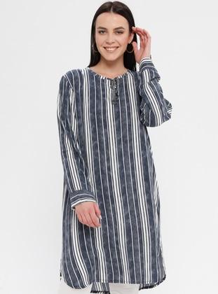 Gray - Stripe - Crew neck - Cotton - Plus Size Tunic