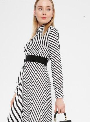 Black - White - Stripe - Point Collar - Unlined - Dress
