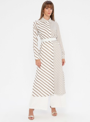 White - Beige - Stripe - Point Collar - Unlined - Dress