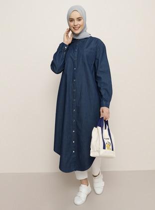 Navy Blue - Point Collar - Cotton - Denim - Tunic