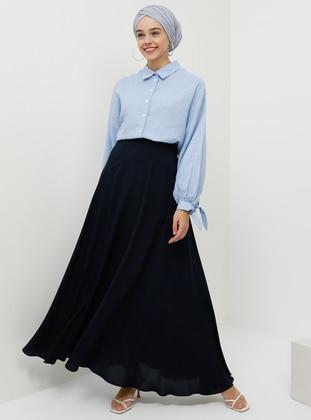 Navy Blue - Unlined - Viscose - Skirt