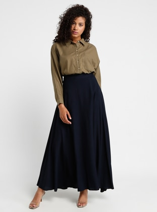 Navy Blue - Unlined - Viscose - Skirt