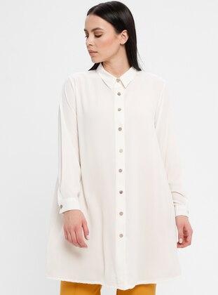 Cream - Point Collar - Cotton - Plus Size Blouse