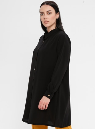 Black - Point Collar - Cotton - Plus Size Blouse - Genç Style