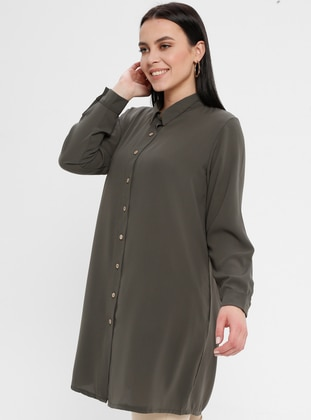 Green - Point Collar - Cotton - Plus Size Blouse