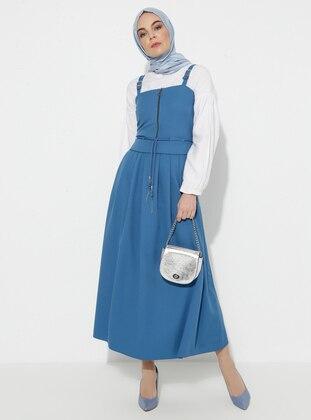 Blue - Indigo - Unlined - Cotton - Dress