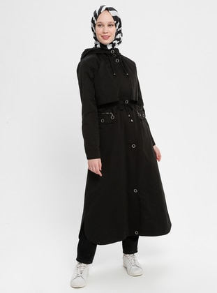 Black - Fully Lined - Cotton - Trench Coat