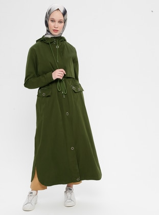 Green - Fully Lined - Cotton - Trench Coat