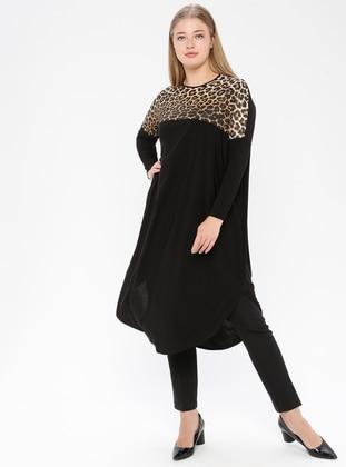Black - Leopard - Crew neck - Plus Size Tunic