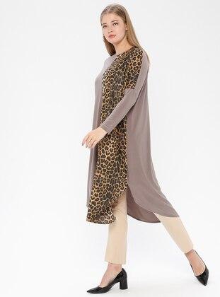Mink - Leopard - Crew neck - Plus Size Tunic