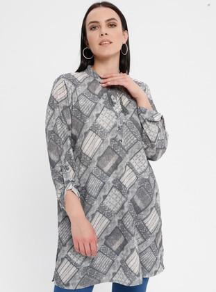 Gray - Geometric - Crew neck - Cotton - Plus Size Tunic