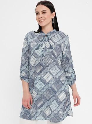 Blue - Geometric - Crew neck - Cotton - Plus Size Tunic