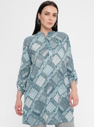 Green - Geometric - Crew neck - Cotton - Plus Size Tunic