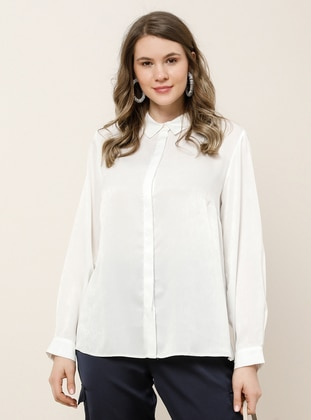 White - Ecru - Point Collar - Plus Size Blouse - Alia