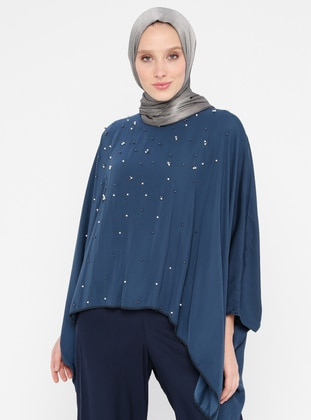 Navy Blue - Crew neck - Poncho