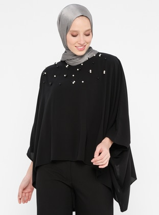 Black - Crew neck - Poncho