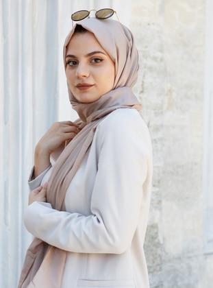 Camel - Plain - Silk Blend - Cotton - Shawl -  Eşarp