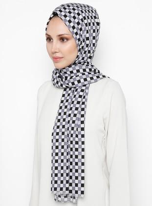 Black - Gray - Plaid - Cotton - Shawl