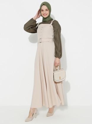 Beige - Unlined - Cotton - Dress
