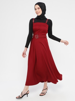 Maroon - Unlined - Cotton - Dress