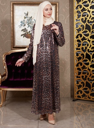 Leopard - Leopard - Fully Lined - Crew neck - Muslim Evening Dress