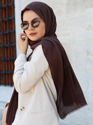 Brown - Plain - Cotton - Shawl -  Eşarp