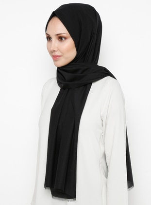 Black - Plain - Cotton - Shawl - Benatt