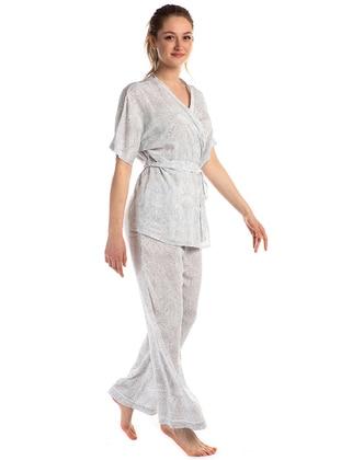Multi - V neck Collar - Multi - Viscose - Pyjama