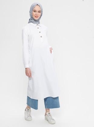 White - Point Collar - Cotton - Tunic