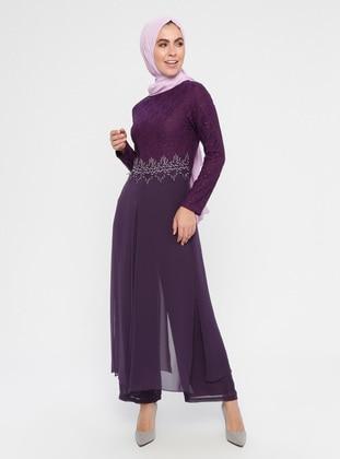 Purple - Crew neck - Jumpsuit