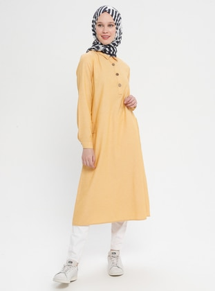 Yellow - Point Collar - Cotton - Tunic